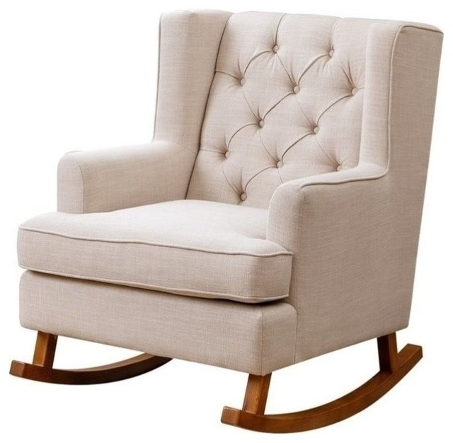 Abbyson Living Thatcher Fabric Rocking Chair, Beige