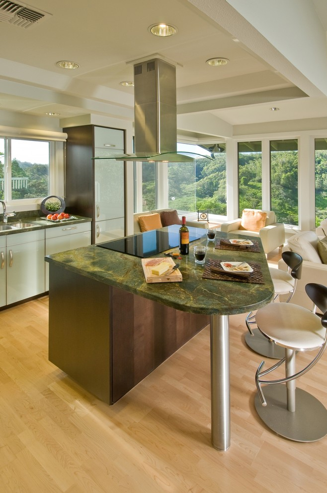 Open concept kitchen - contemporary l-shaped open concept kitchen idea in Hawaii with flat-panel cabinets, granite countertops and a double-bowl sink