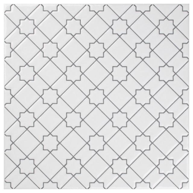 SomerTile Sevillano Giralda Ceramic Wall Tile, Case of 25, White