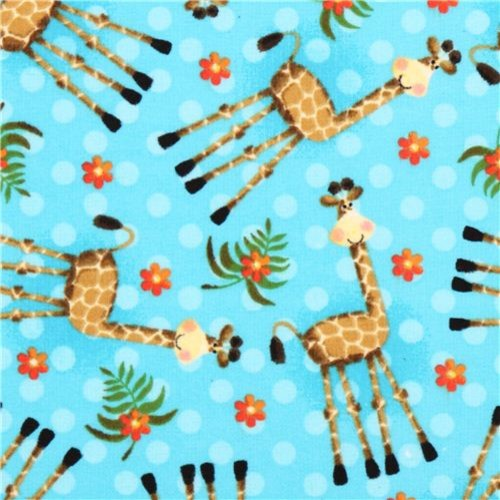 turquoise dotted giraffe animal flannel fabric from the USA