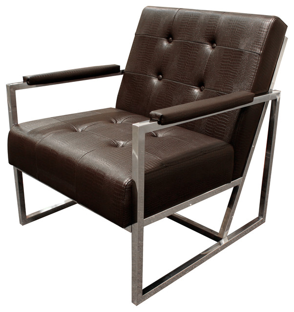 Cunningham Living Room Chrome Arm Chair, Brown Contemporary  Armchairs And Accent