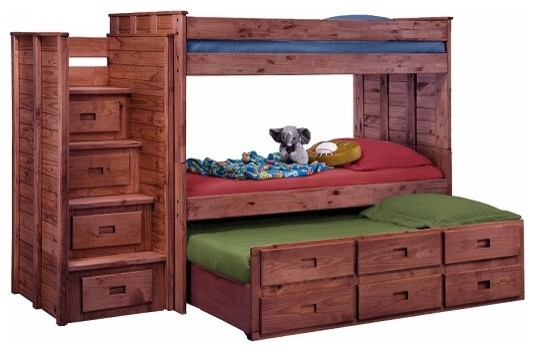 Raven Hill Twin Over Twin Combo Stairway Bunk Bed, Mahogany.