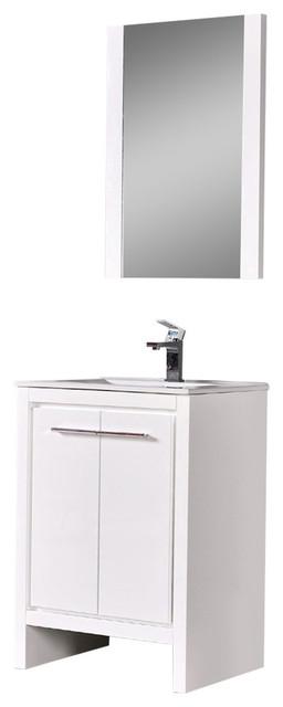 "Milan 24"" Vanity Set With Mirror, Glossy White."