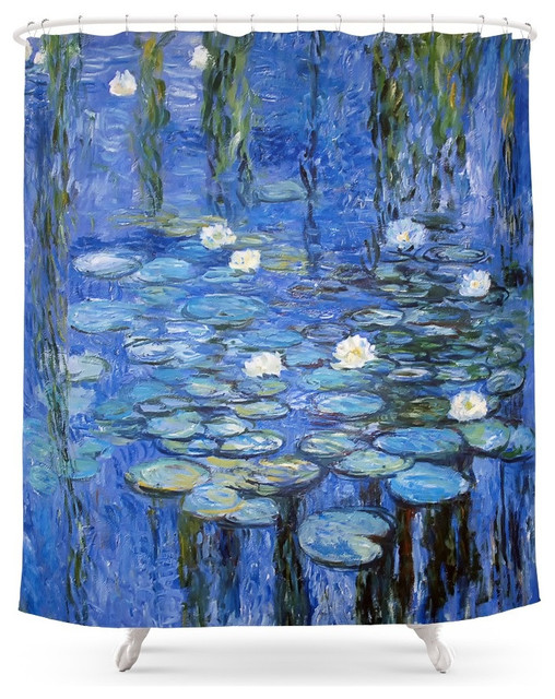 society6 water lilies a la monet shower curtain. Black Bedroom Furniture Sets. Home Design Ideas