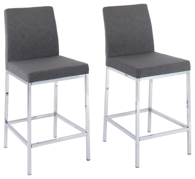Corliving Huntington Fabric Bar Stools With Chrome Legs