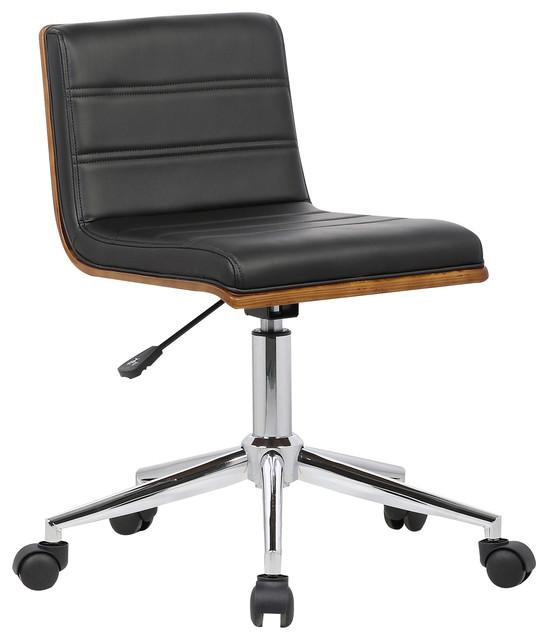 Bowie Chrome Mid-Century Office Chair With Walnut Veneer Back, Black.