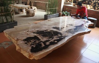 PETRIFIED WOOD DINING TABLE rustic-patio-furniture-and-outdoor-furniture