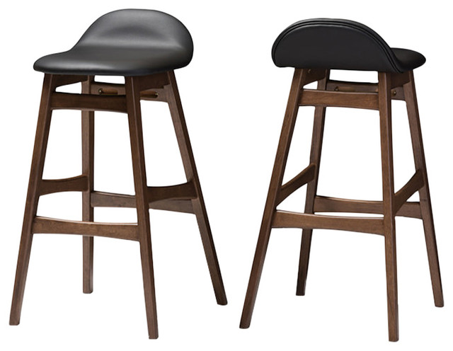 Awe Inspiring Bloom Mid Century Retro Modern Scandinavian Faux Leather Bar Stools Set Of 2 Ncnpc Chair Design For Home Ncnpcorg