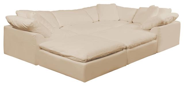 Puff X Divani.Cloud Puff 6 Piece Slipcovered Modular Pitt Sectional Sofa Performance Tan