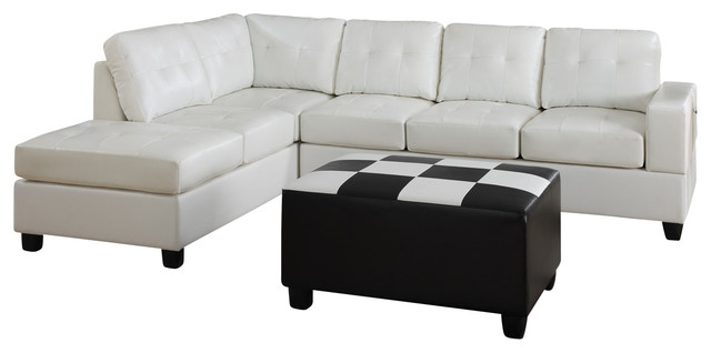Poundex F7272 Cream Bonded Leather Living Room Sectional Sofa Living Room Furniture Sets By