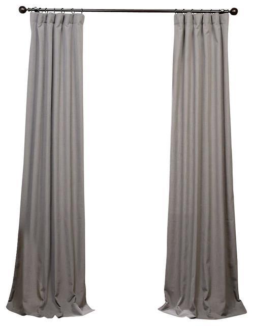 Pewter Grey Heavy Faux Linen Curtain Single Panel