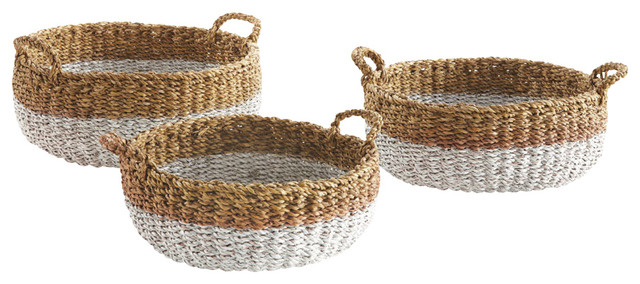 Sea Grass Shallow Baskets With Handles Natural and White Set of 3  sc 1 st  Houzz & Sea Grass Shallow Baskets With Handles Natural and White Set of 3