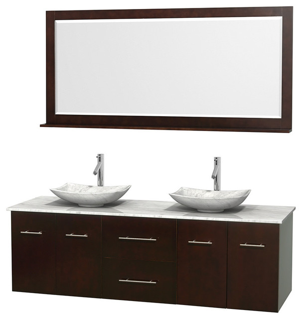 "- 72"" Double Bathroom Vanity, Marble Countertop, Sinks and Mirror - View in Your Room! 