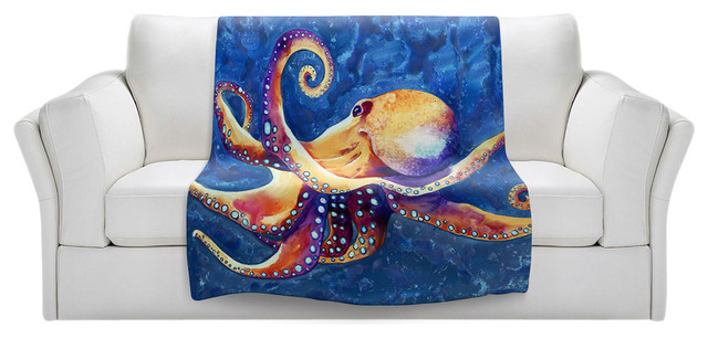 "Adrift Octopus Throw Blanket, 40""x30""."