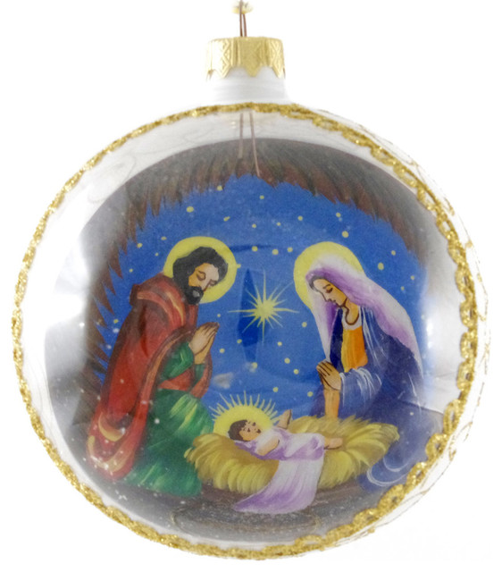 """Holy Family With Angel Hair Glass Ornament: """"Mary, Joseph And Baby Jesus"""" Reverse Hand Painted Glass"""