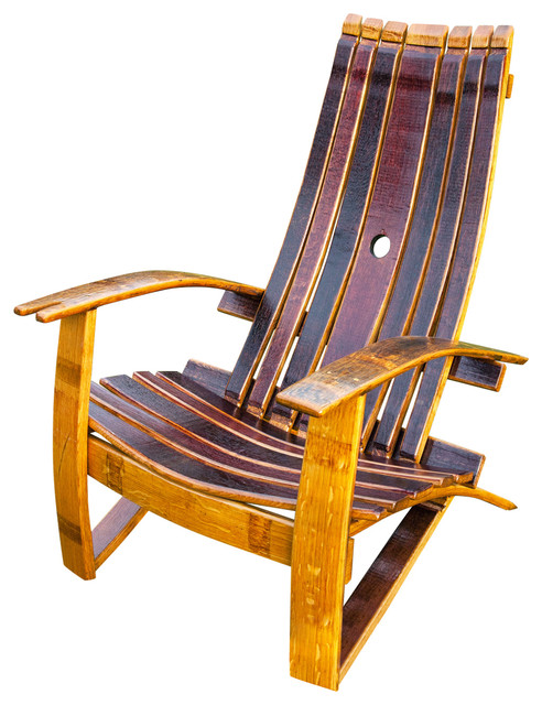 Wine Barrel Adirondack Chair With Cover Rustic