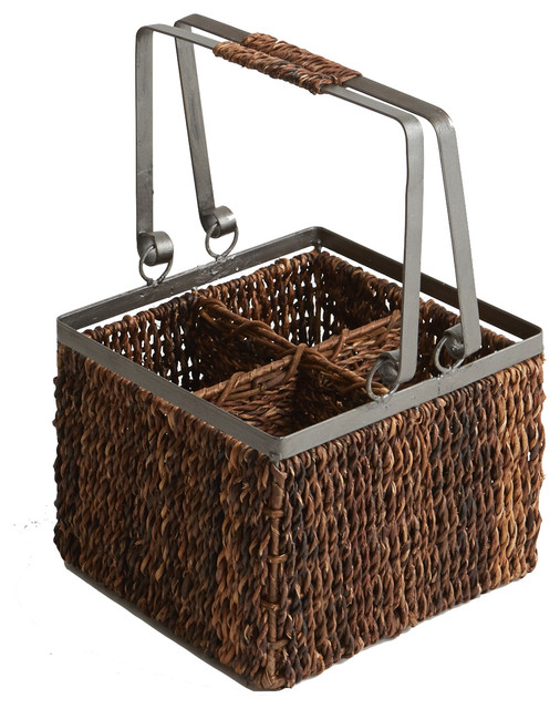 Abaca And Metal 4-Bottle Wine Caddy.