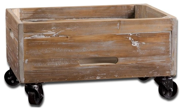 Stratford Reclaimed Wood Rolling Box By Designer Matthew Williams.