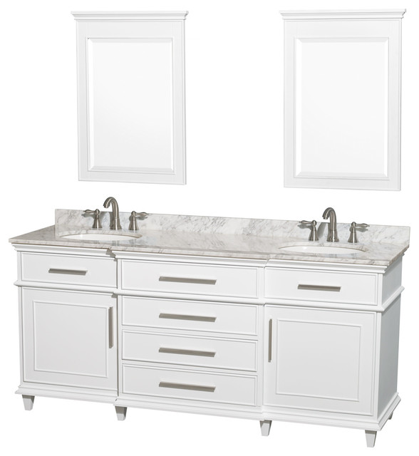 Wyndham Collection 72 Berkeley White Double Vanity And Carrera Marble Top Bathroom Vanities Sink Consoles By Luxvanityhome