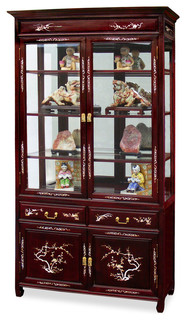 40 Quot Rosewood Mother Of Pearl Inlaid Curio Cabinet Asian