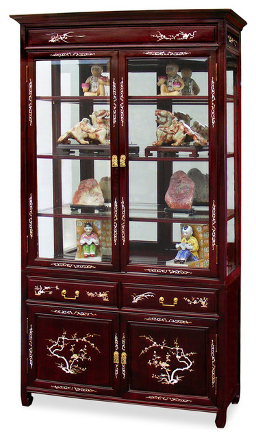 40 Rosewood Mother Of Pearl Inlaid Curio Cabinet