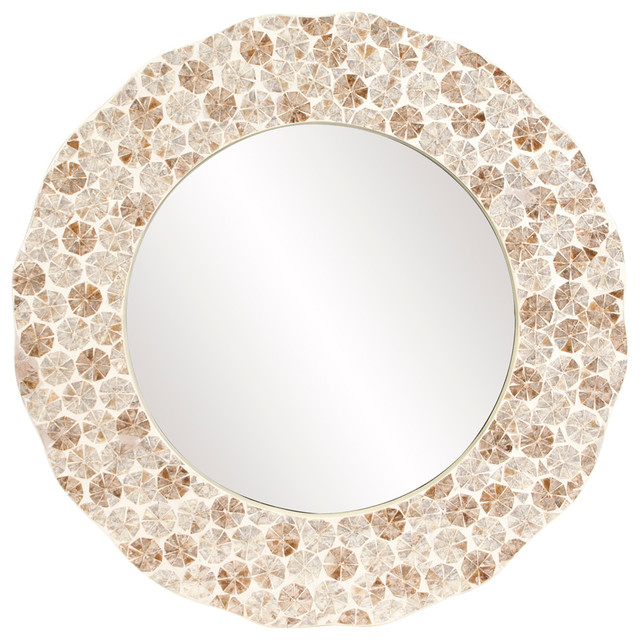 Antigua Round Silver Shell Mirror.