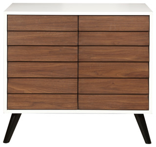 Two Tone Walnut and White Two Door Chest