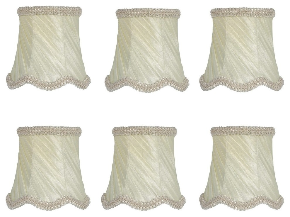 Eggshell Swirl Pleated Silk 3 Drum Chandelier Lamp Shades Set Of 6 Traditional Lamp Shades By Upgradelights