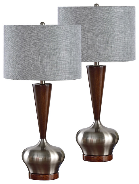 Brushed Nickel Walnut With Silver Fabric Shade  Table Lamps, Set Of 2.