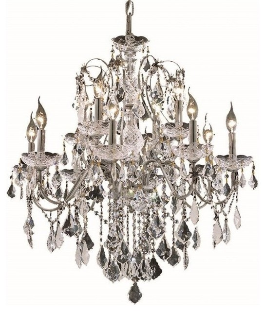 Elegant Lighting St. Francis 28  12-Light Royal Crystal Chandelier traditional-chandeliers  sc 1 st  Houzz & Elegant Lighting St. Francis 28