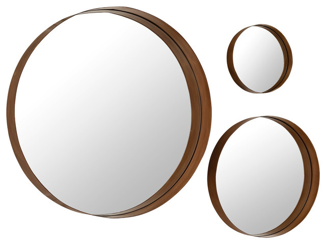 Banded Round Copper Mirrors 3 Piece Set Contemporary Wall Mirrors By Virventures