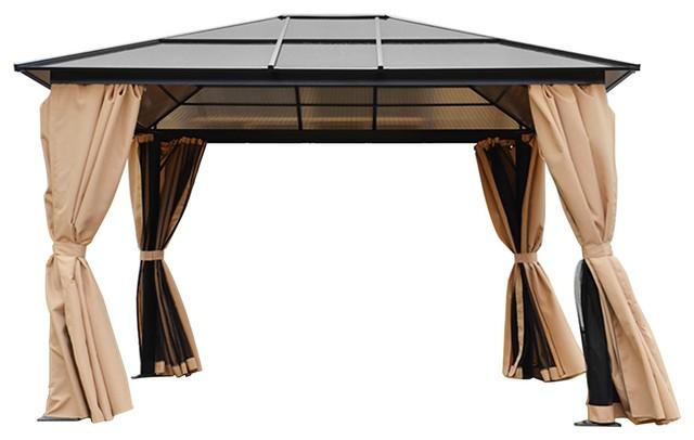 Outdoor Backyard Patio Gazebo, Polycarbonate With Panel Roof, 10&x27;x12&x27;