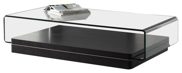 Modern Oakwood Veneer Coffee Table With Curved Gl Top
