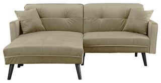 Mid-Century Modern Brush Microfiber Sleeper Sofa Bed - Midcentury ...