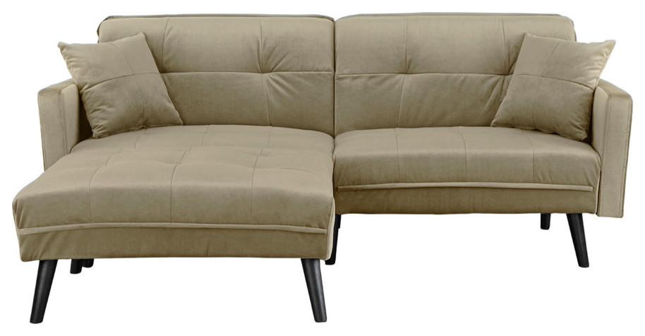 Mid Century Modern Brush Microfiber Sleeper Sofa Bed Beige