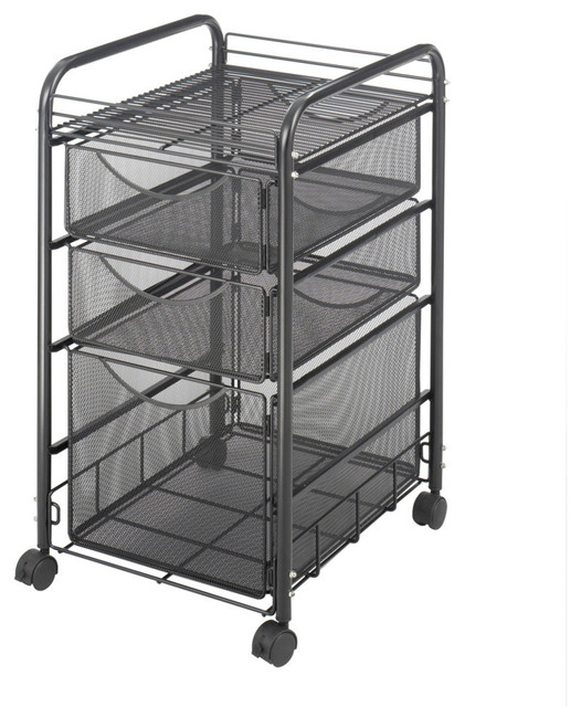 Safco Onyx Mesh File Cart With 4 Drawers, Black-Bl - Traditional - Office Carts And Stands - by ...