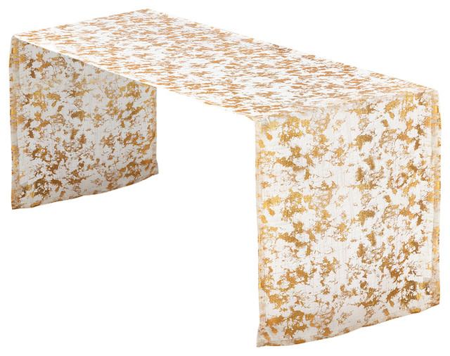 Glitzy Foil Print Design Table Runner, Gold