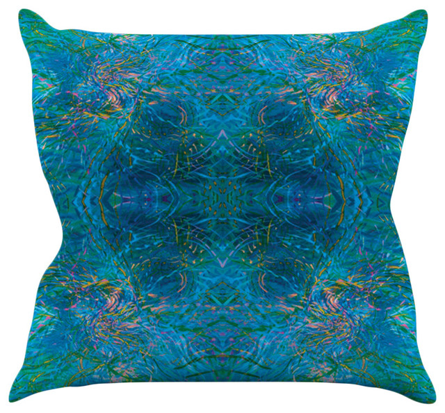 Teal Blue Throw Pillow : Kess InHouse - Nikposium