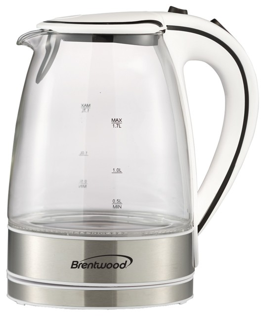 Brentwood Tempered Glass Electric Kettle, 1.7 Liter, White.