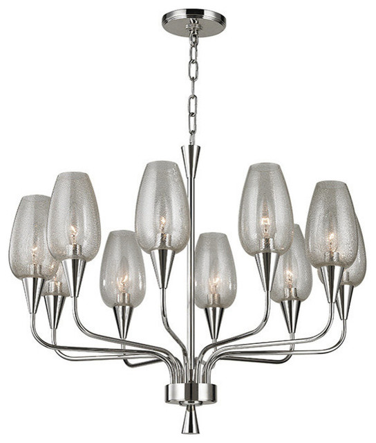Longmont, 10 Light, Chandelier, Polished Nickel Finish, Clear Gold Mesh Glass