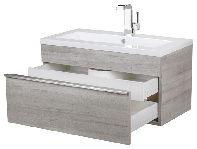 """Trough Collection 30"""" Wall Mount Modern Bathroom Vanity."""