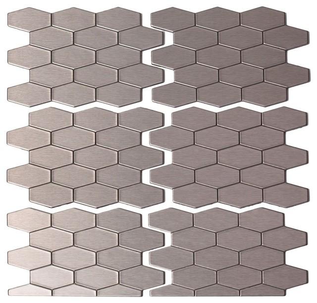 """4""""x6"""" Wide Hex Matted Metal Peel & Stick Backsplash Tile"""