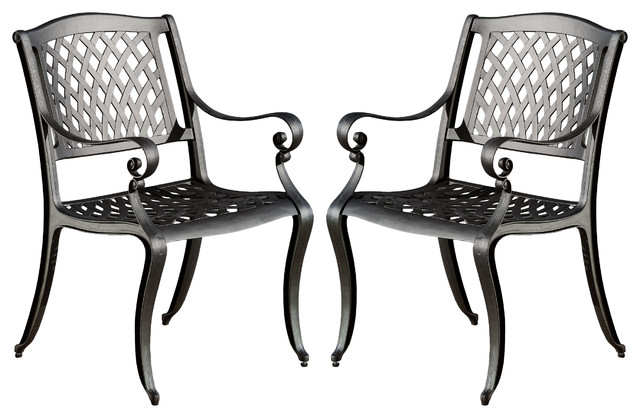 Marietta Outdoor Cast Aluminum Dining Chairs, Set Of 2 Traditional Outdoor  Dining