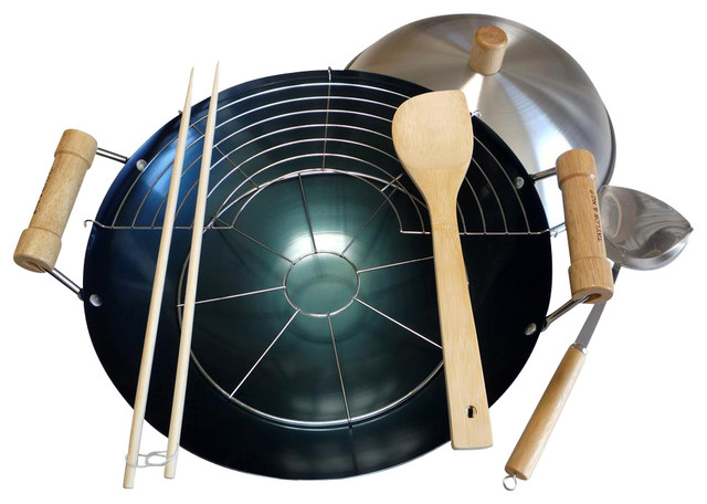 8 Pc 14 In. Double Handle Wok Set.