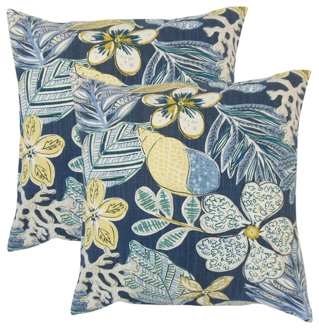 The Pillow Collection Elske Floral Sapphire Down Filled Throw Pillow