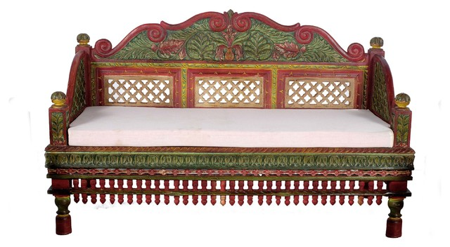 Beautifully Hand Painted Intrinsically Carved Teak Wood Sofa Set  asian-living-room-furniture
