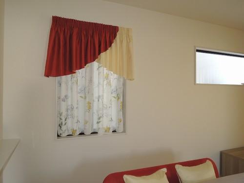 ギャザーバランス付 一体型カーテン