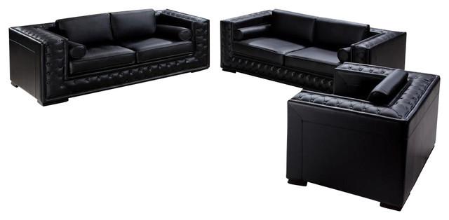 Dublin Black Top Grain Leather 3 Piece Sofa Set With Tufted Design  Contemporary Living