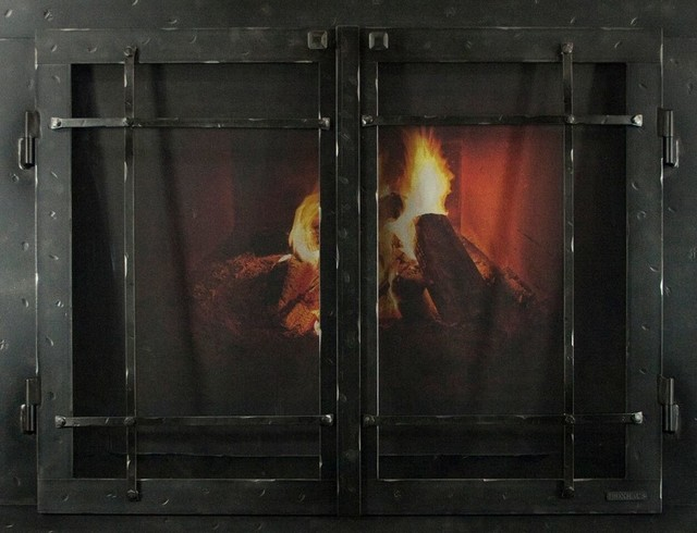 """Iron Fireplace Glass Door With Gate Mesh, 2 1/2"""" Frame, Natural Finish, 38""""x28""""."""
