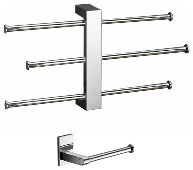 Gedy - Adjustable Towel Rack And Toilet Roll Holder Set ...